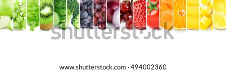 Color fruits and vegetables. Fresh food. Concept - Shutterstock ID 494002360