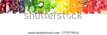 Color fruits and vegetables. Fresh food. Concept - Shutterstock ID 573974416