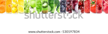 Shutterstock Color fruits and vegetables. Fresh food. Concept. Collage