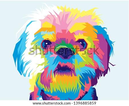 Color Full Dog. Pop art Illustration.