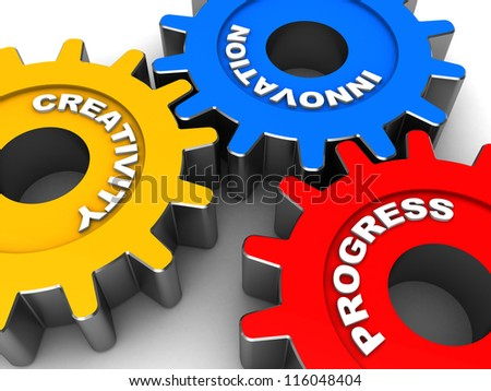 Color  gears making system isolated on a white background