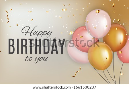 Color Glossy Happy Birthday Balloons Banner Background  Illustration  Stock foto ©