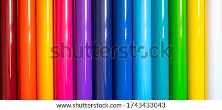 Color grading of vinyl rolls Foto stock ©