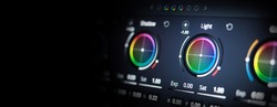 Color grading tools or RGB colour correction indicator on monitor in post production. Telecine full grade stage in video or film production processing. for colorist edit grading color on digital movie