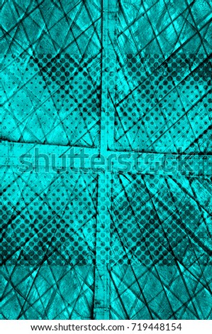 Color grunge turquoise background. Halftone elements. Texture of spots, stains, ink, dots, scratches. Vintage damaged cyan design backdrop. Abstract aged green wall #719448154