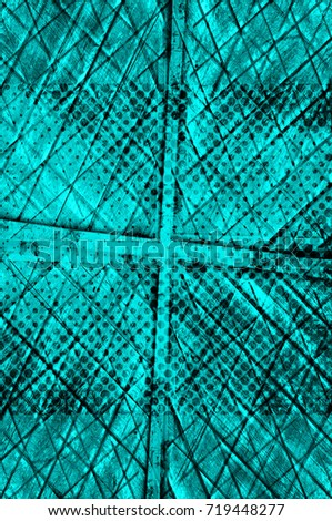 Color grunge turquoise background. Halftone elements. Texture of spots, stains, ink, dots, scratches. Vintage damaged cyan design backdrop. Abstract aged green wall #719448277
