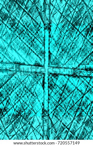 Color grunge turquoise background. Halftone elements. Texture of spots, stains, ink, dots, scratches. Vintage damaged cyan design backdrop. Abstract aged green wall #720557149
