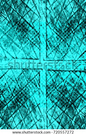 Color grunge turquoise background. Halftone elements. Texture of spots, stains, ink, dots, scratches. Vintage damaged cyan design backdrop. Abstract aged green wall #720557272