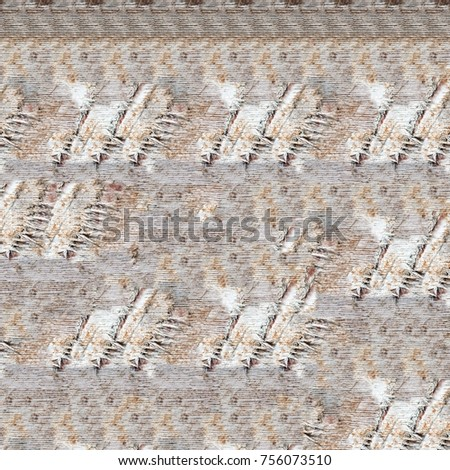 Color grunge wall background. Various color pattern elements. Old  vintage scratches, stain, paint splats, brush strokes, dots, spots. Weathered wall backdrop #756073510