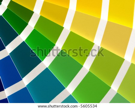 Color guide for selection with blue, green and yellow tones