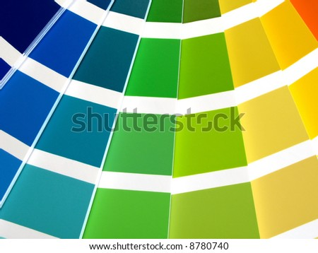 Color guide for selection with orange, yellow, green and blue tones