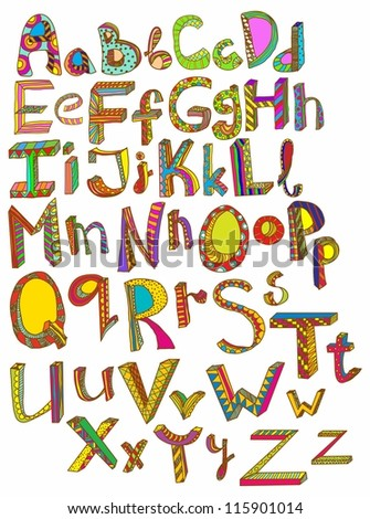 Color hand drawn alphabet, illustration