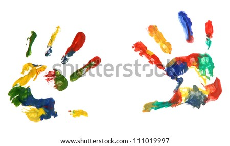 Color hands print, isolated on white