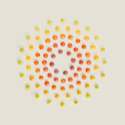 Color harmony made of wild plums concentric circles isolated on pastel beige background. Minimal, colorful, summer fruit flat lay. Natural, abstract note card pattern. Circular  frame with copy space.