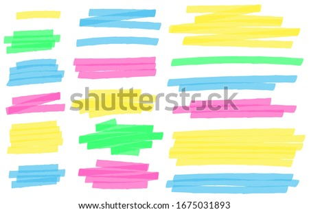 Color highlight marker lines. Colorful markers scribble, highlights line strokes and highlight banner  set. Freehand multicolor scrawls isolated on white. Text underlining and highlights Stock photo ©