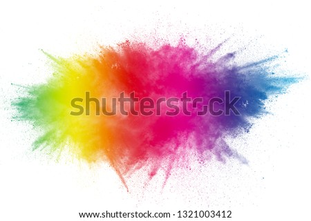 Color Holi Festival. Colourful explosion for Happy Holi powder. Color powder explosion background. #1321003412
