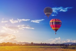 color hot air balloon in blue sky and cloud  nature background