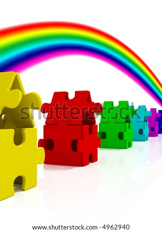 Color Houses and rainbow