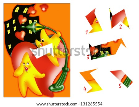 color illustration of a children's game in which you find the missing piece to the design