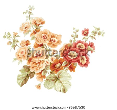 Color illustration of flowers in watercolor paintings 95687530