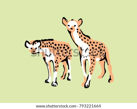Color illustration well suited for an advertising poster of safari park. In the illustration two hyenas with interest looking at a safari park visitors.