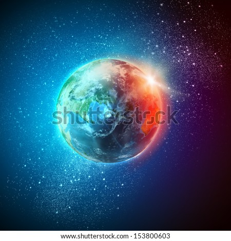 Color image of earth planet in space