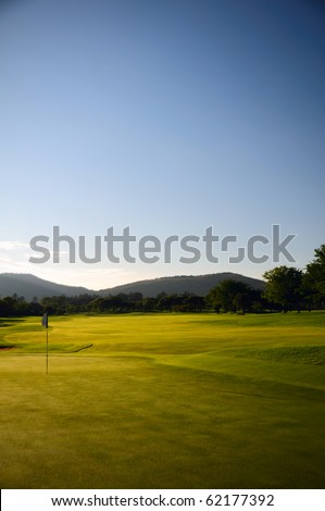 color image of golf course fairway on a cloudless day