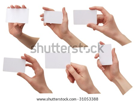 color images of women's hands with a credit card. isolated on a white background