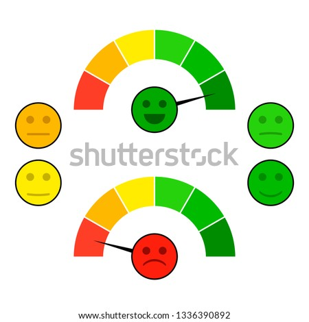 Color indicator arrow with face mood. Credit score good and bad, gauge spectrum indices. illustration