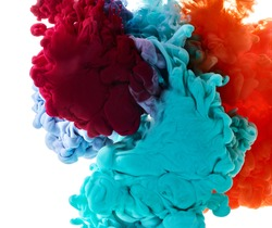 Color ink drop in water. Abstract background