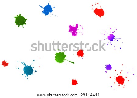 color ink splatters isolated on white background