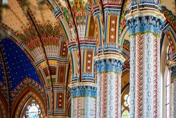 Color interior details of a catholic neogothic cathedral