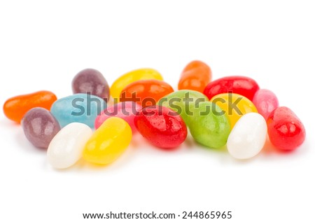 color jelly beans on white...
