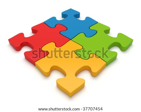 Color jigsaw puzzle pieces - more variations of this image in my portfolio