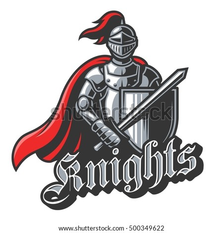 Stock Photo Color knight sport logo on white background. Perfect for sport team mascot.