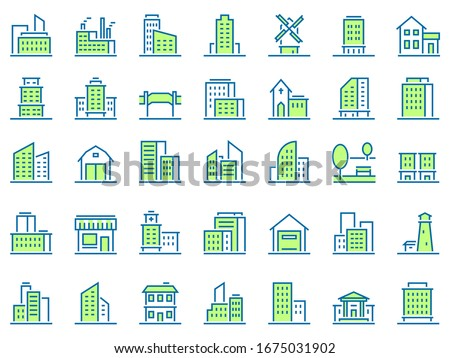 Color line building icons. Green town icon, city buildings and real estate symbols  set. Urban architecture. Residential and municipal buildings linear pictograms pack. Logotype design elements