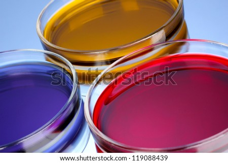 color liquid in petri dishes on blue background