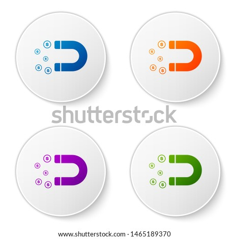 Color Magnet with money icon isolated on white background. Concept of attracting investments, money. Big business profit attraction and success. Set icons in circle buttons