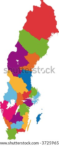Color map of administrative divisions of Sweden