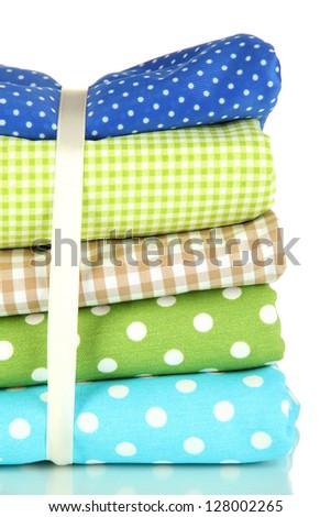 Color mottled fabrics isolated on white
