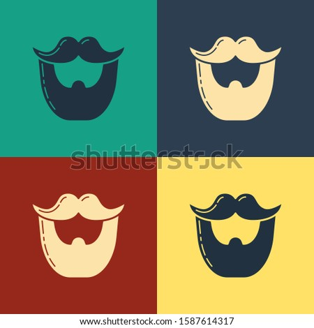 Color Mustache and beard icon isolated on color background. Barbershop symbol. Facial hair style. Vintage style drawing.