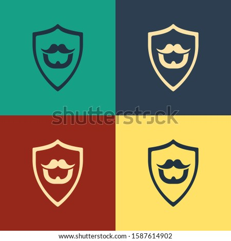 Color Mustache and beard on shield icon isolated on color background. Barbershop symbol. Facial hair style. Vintage style drawing.