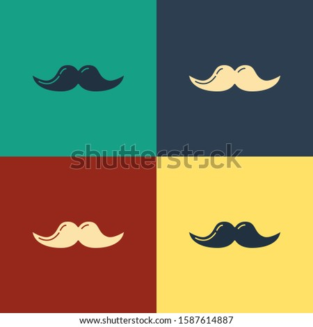 Color Mustache icon isolated on color background. Barbershop symbol. Facial hair style. Vintage style drawing.