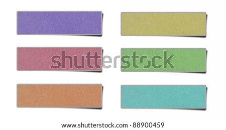 color note papers on white background.