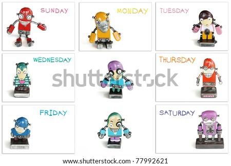color of day in one week  with modern robot - stock photo