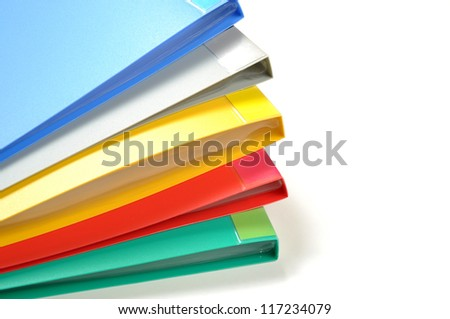 Color of folders isolated on white background