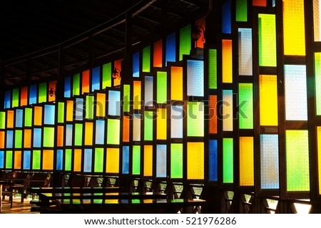 Color of glass's window with sunshine for background