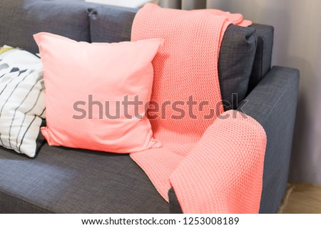 Color of the year 2019 living coral. blanket and pillows on the sofa in the interior #1253008189