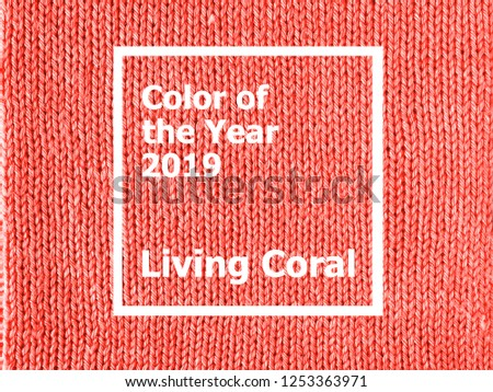 Color of the year 2019: Living Coral. Texture of colored knitted Jersey. Fashionable pantone color of spring-summer 2019 season. Knitted Living Coral texture. #1253363971
