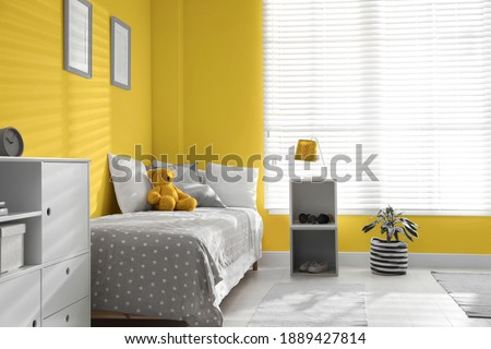 Color of the year 2021. Modern child room interior with stylish furniture